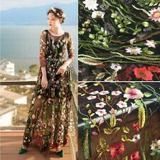 1 Yard 51'' Wide Floral Lace Tulle Fabric Embroidery Black Mesh Wedding Dress