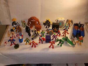 FISHER-PRICE IMAGINEXT DC & MARVEL SUPER HEROES & VILLAINS LOT W/ BATCAVE