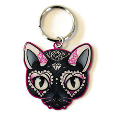 Miss Cherry Martini Pink Sugar Skull Kitty Cat Metal Key Ring key chain