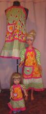 3 pc Bright Fruit & Green Apron Set Adult, Child & American Girl Doll AGAPS18