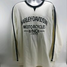 Harley Davidson Mens Sweater Cream Long Sleeve Embroidered Pullover Polo Sz XXL