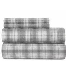 Pendleton King Sheet Set 100% Cotton Davis Plaid Flannel Grey New $150