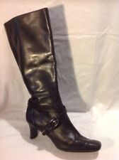 Circa Joan&David Black Knee High Leather Boots Size 6.5Uk