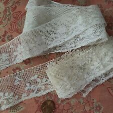 """New listing 1"""" Fine French Antique Lace Valencienne Trim 2+ yds wide tulle 1800s lot"""
