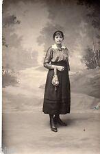 BL461 Carte Photo vintage card RPPC Femme mode fashion robe dress sac à main bag