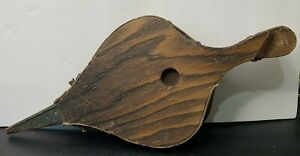 "Antique Wood & Leather Fireplace Hearth Bellows Stoker 16 3/4"" Long"
