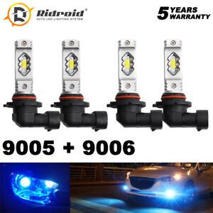 COB LED Headlight Kit Combo 9005 9006 Ice Blue 8000K Bulbs High Low Beam US