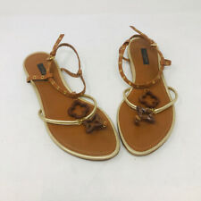 Louis Vuitton 39 Brown Gold Flat Grommet Leather Sandals - 3-362-92319