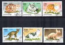 Gatos Camboya (4) serie completo de 6 sellos matasellados