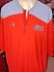 vtg UNDER ARMOUR Bengals Baseball Orange & Gray  Pullover size Large b12