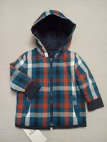 BNWT Marks & Spencer Baby Boys Navy Blue Hooded Reversible Shirt Jacket 3-6month