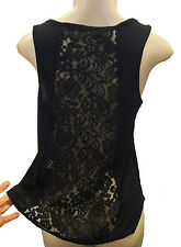 Womens / Juniors Lace Back Tank-Top Fashion Medium Stretch Black Loose Flare