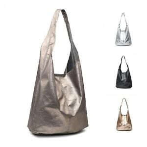 Woman Super Light Metal Glossy Synthetic Leather Medium Hobo Commuting Shoulder