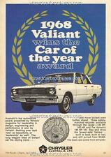1968 CHRYSLER VALIANT VE WCOTY A3 POSTER AD SALES BROCHURE ADVERTISEMENT ADVERT