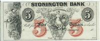 Connecticut Stonington Bank $5 18XX G40b Obsolete Choice CU note#2 Red V Ink