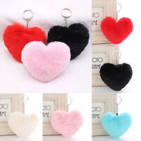 Plush Faux Faux Charm Keyring Pompon Heart Pendant Womens Pom pon Key Chain 1PC