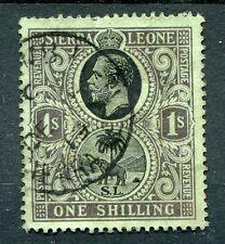 Sierra Leone KGV 1912-21 1s black on green inverted watermark SG124w fine used