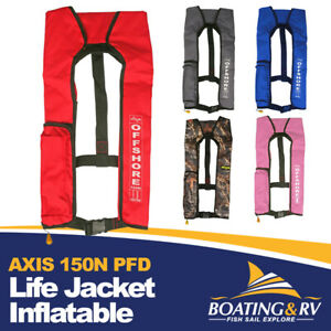 Life Jacket 150N Inflatable | AXIS Offshore PFD Fishing Boating Boat Lifejackets