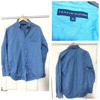 Tommy Hilfiger Blue Long Sleeve Shirt Mens Size Medium M (C754)