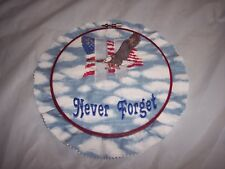 "Completed Finished Cross Stitch ~ Eagle, Twin Towers, ""Never Forget"" ~ with Hoop"