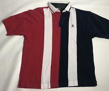 Vtg 90's Tommy Hilfiger Polo Shirt Men XL Red Blue White Stripe Crest Colorblock