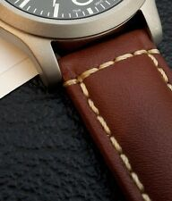 Brown, White Stitched Italian Leather Watch Strap + Spring Bars, Choice Of Sizes