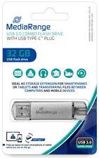 Mediarange USB Stick 32GB Speicherstick Combo silber Typ C USB 3.1