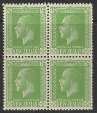 NEW ZEALAND SG444 1925 ½d APPLE-GREEN BLOCK OF 4 MNH