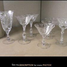 Cambridge Glass Rosepoint etch 7pc MISC Stemware Glasses rose point