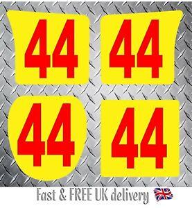 4 x Custom Kart Race Numbers including Background - MSA 2020 Compliant (YR) S1