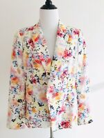 Zara Womens Size L White Floral Pastel Print Blazer Double Breasted Jacket