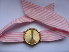 ADORABILE estivo da donna rosa e bianco decorato SCIARPA ORO CON VISO Orologio
