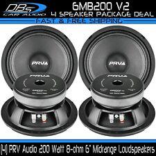 "4 PRV Audio 6MB200 V2 6"" Midrange Car Speakers 200W 8-ohm Midbass Loudspeakers"