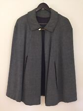 Tweed Cape Shades of Gray Handmade Satin Lining Button & Chain Closure Size S/M