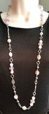 """Premier Designs Jewelry FIRST BLUSH 36"""" + 4"""" Silver & Pink Necklace NWOT"""