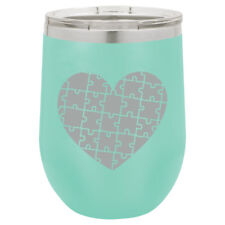 Stemless Wine Tumbler Coffee Travel Mug Glass Insulated Heart Puzzle Autism
