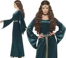 Green Medieval Maid Costume Ladies Fancy Dress Size 8-26 Headband Smiffys 45497 L - Large