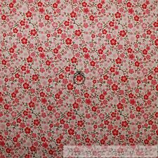 BonEful Fabric Cotton Quilt Cream Pink Small Flower Little Brown Branch 99 SCRAP
