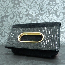 Rise-on LOUIS VUITTON Monogram Motard Afterdark Suede Patent Black Clutch Bag #1