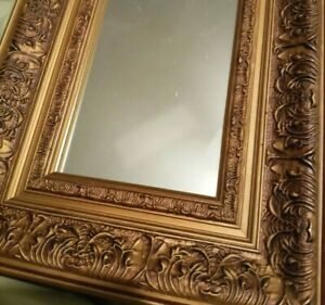 Vintage gold wall mirror with ornate wide frame, accent mirror Victorian style