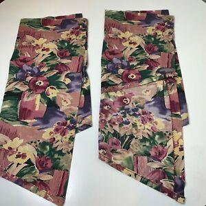 croscill swag valance curtain pair pink purple floral rod pocket 26 x42