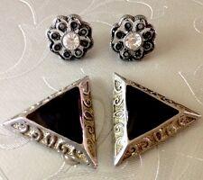 Art Deco Style Set Clip On/Pierced Earring Silver Metal Black& Diamanté Detail