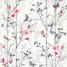 Muriva Eden Wallpaper 102550 - Feature Wall Floral Butterfly Bird Foliage Pink