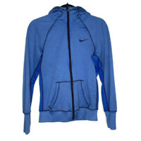 NIKE WOMENS THERMA Fit Hooded Full Zip Blue Jacket Fleece Lined Size Small