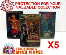 5x VHS MOVIE CARDBOARD BIG BOX (SIZE D) CLEAR PLASTIC PROTECTIVE BOX PROTECTORS