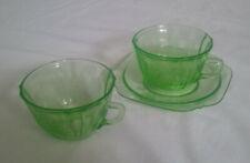 RARE Vintage Parrot Sylvan Green 2 Cups & 1 Saucer Depression Glass