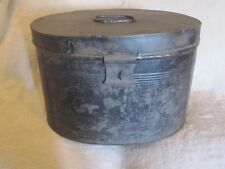 Extra Large Vintage Victorian metal tin hat box de stockage acte Case Noir