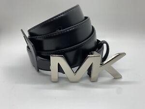 MICHAEL KORS Men's MK Hardware Belt Size 34 Black Leather Silver NEW