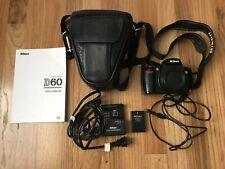 Nikon D60 10.2 MP Digital SLR Camera Body Battery Cable Charger Bag Bundle