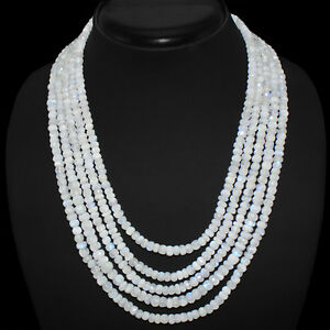 SUPERB TOP GRADE AAA 547.00 CTS NATURAL 5 LINE MOONSTONE BEADS NECKLACE STRAND